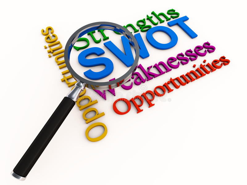 SWOT analysis and lens royalty free illustration