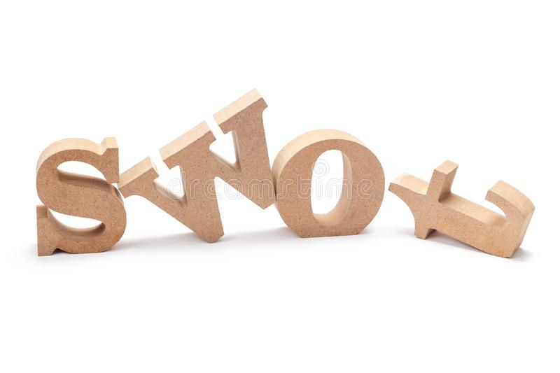 SWOT Wood Letters. SWOT analysis Strength Weakness Opportunities Threat wood letters on white background royalty free stock image