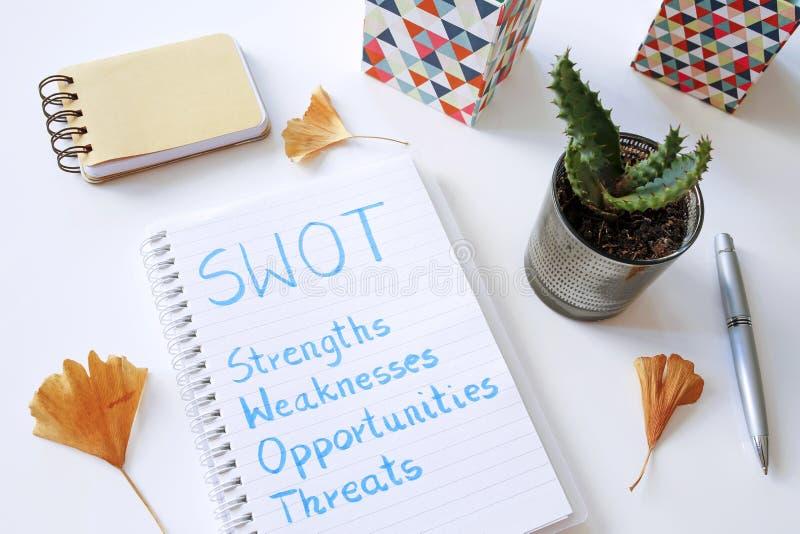 SWOT las amenazas de las oportunidades de las debilidades de las fuerzas escritas en cuaderno fotos de archivo libres de regalías