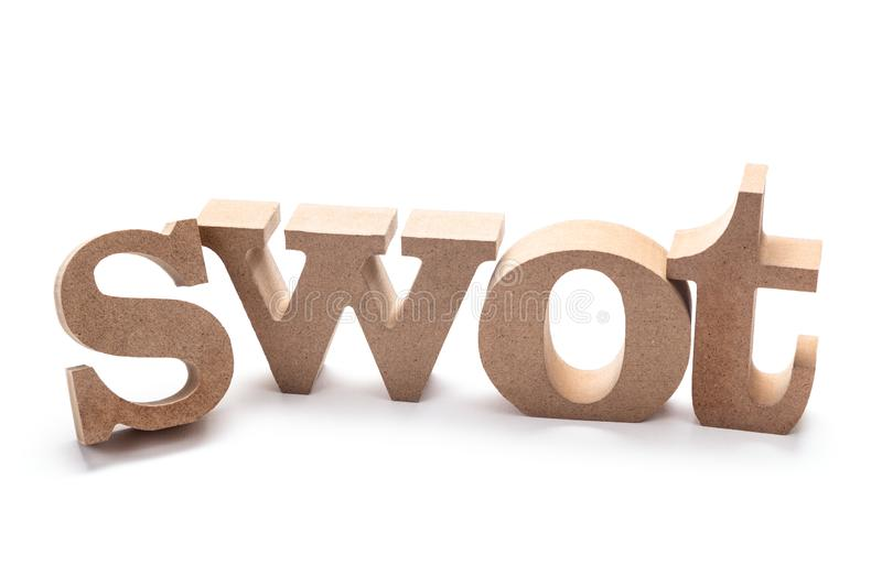 SWOT Wood Letters. SWOT analysis Strength Weakness Opportunities Threat wood letters on white background stock photo
