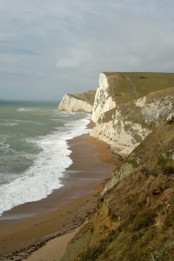 Swyre Hoofdklippen boven Durdle-Deur op de kust van Dorset stock afbeelding
