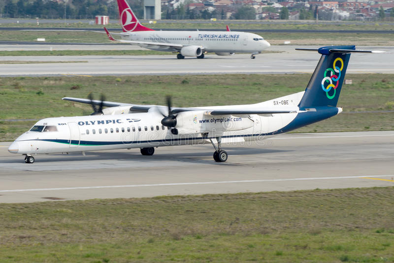 Sx-ABE Olympic Airlines, Bombardier Streepje 8-Q402 royalty-vrije stock foto
