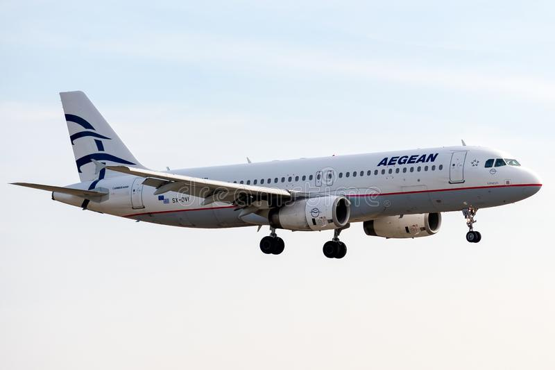 Airbus A320-232 - 3074, operated by Aegean Airlines landing. SX-DVI - Airbus A320-232 - 3074, October 17, 2018 landing on Paris Roissy Charles de Gaulle airport stock images