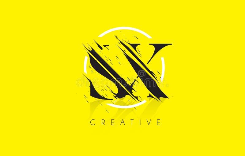 SX listu logo z rocznika Grundge rysunku projektem Zniszczony Cu royalty ilustracja