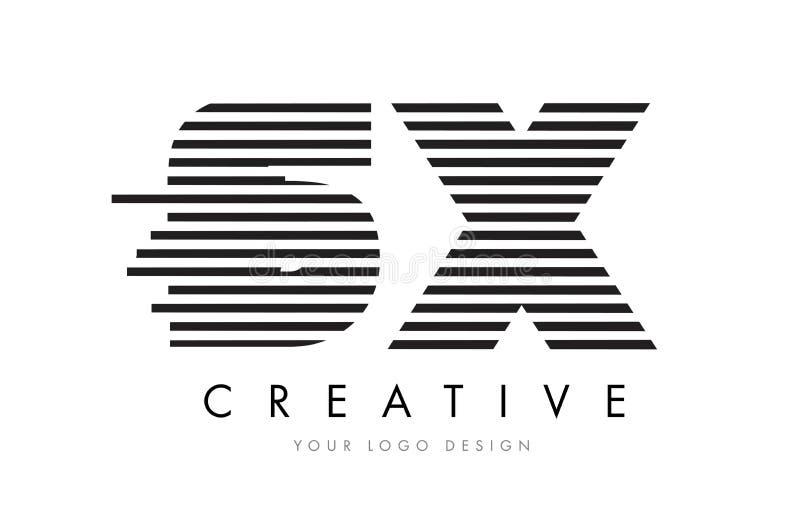 SX S X Zebra Letter Logo Design with Black and White Stripes stock illustration
