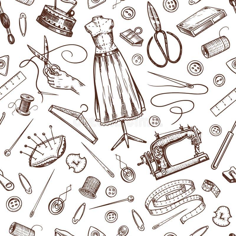 Sy den sömlösa modellen Hjälpmedel och beståndsdelar eller material för handarbete Skräddaren shoppar för emblemetiketter Tråd oc stock illustrationer