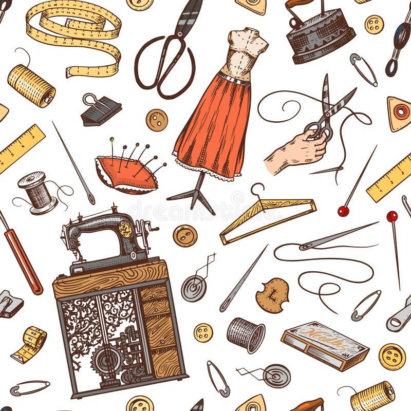 Sy den sömlösa modellen Hjälpmedel och beståndsdelar eller material för handarbete Skräddaren shoppar för emblemetiketter Tråd oc royaltyfri illustrationer