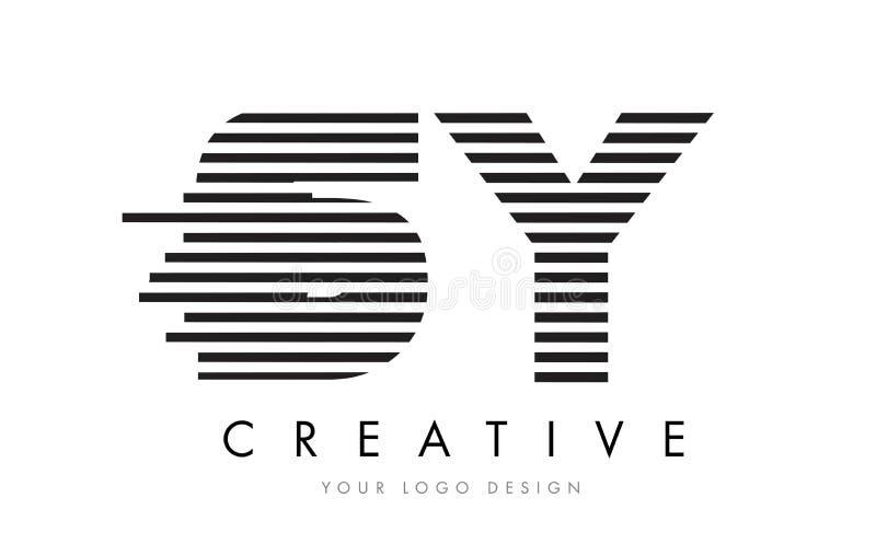 SY S Y Zebra Letter Logo Design with Black and White Stripes stock illustration