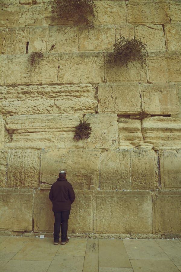 syanding和祈祷在神圣的哭墙的犹太人,西部 免版税库存图片