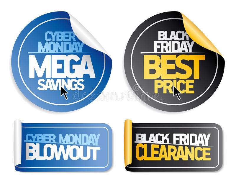 Syber lunes y etiquetas engomadas negras de la venta de viernes ilustración del vector