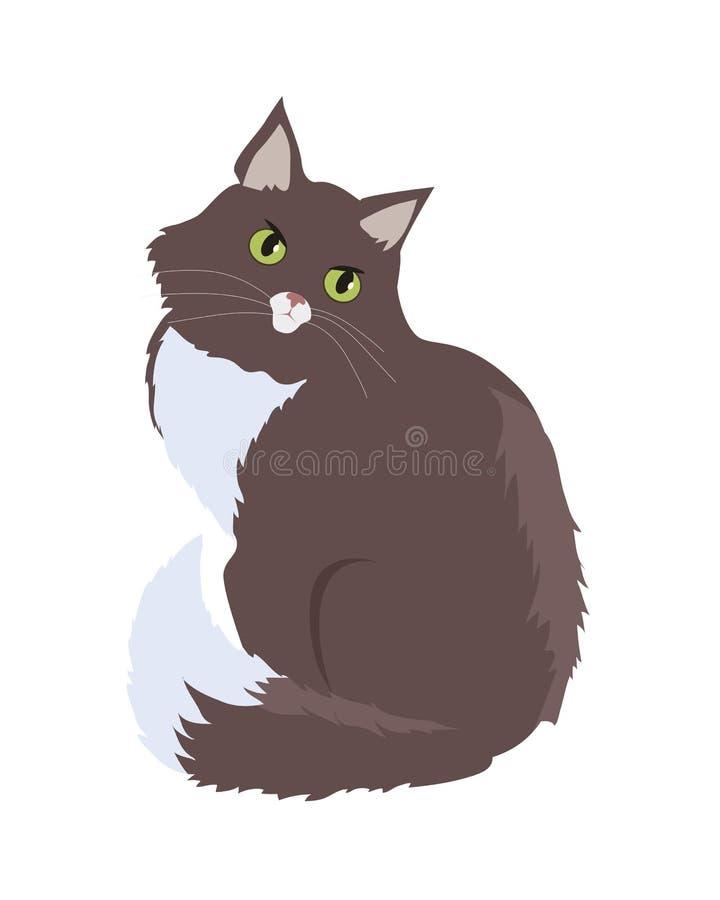 Syberyjskiego kota projekta Wektorowa Płaska ilustracja royalty ilustracja