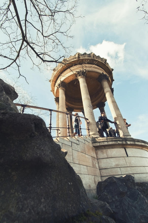The Sybille Temple in the Buttes-Chaumont Park stock image