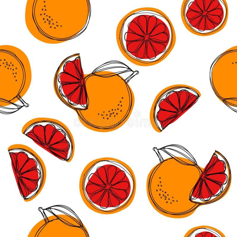 Sycylijski krwionośnych pomarańcz wektorowy bezszwowy wzór na białym tle czerwone pomarańcze ilustracja wektor
