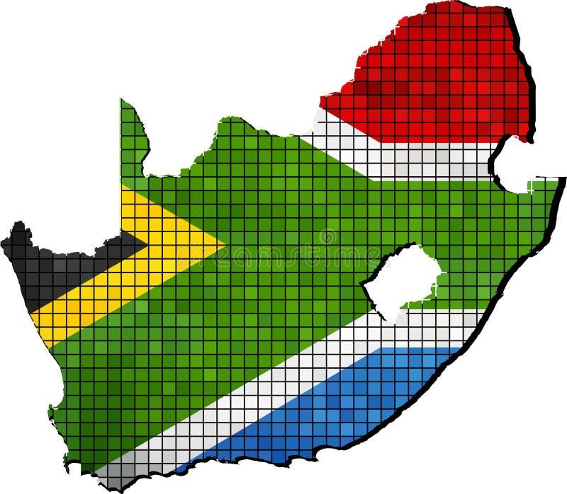 Sydafrika översikt med flaggan inom stock illustrationer