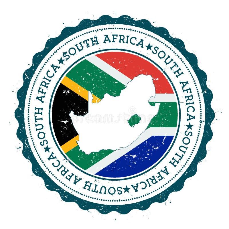 Sydafrika översikt och flagga i den rubber stämpeln för tappning royaltyfri illustrationer