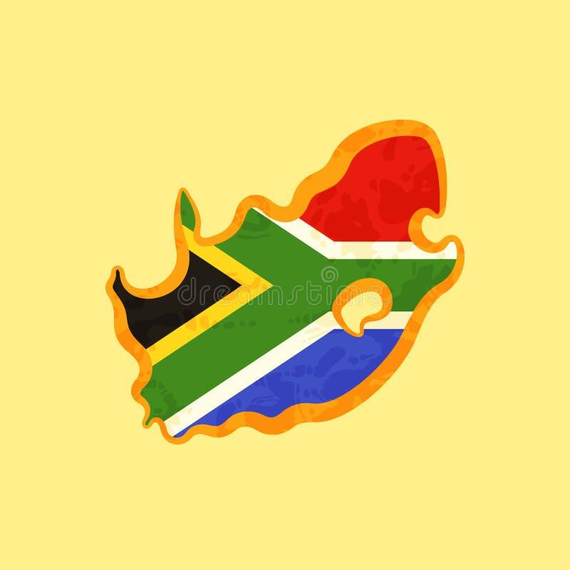 Sydafrika - översikt som färgas med söder - afrikansk flagga vektor illustrationer