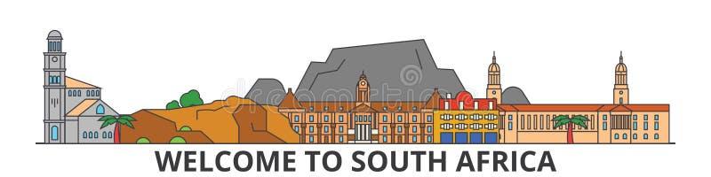 Sydafrika översiktshorisont, plan tunn linje symboler, gränsmärken, illustrationer för afrikan Sydafrika cityscape, afrikan royaltyfri illustrationer