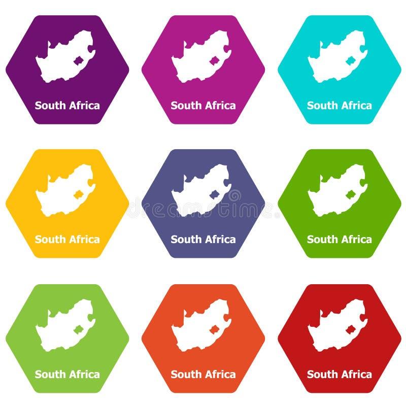 Sydafrika översiktssymboler ställde in vektor 9 royaltyfri illustrationer