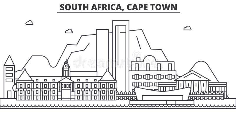 Sydafrika Cape Town arkitekturlinje horisontillustration Linjär vektorcityscape med berömda gränsmärken, stad vektor illustrationer