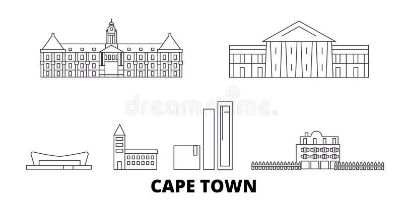 Sydafrika Cape Town linje lopphorisontuppsättning Illustration för vektor för Sydafrika Cape Town översiktsstad, symbol stock illustrationer