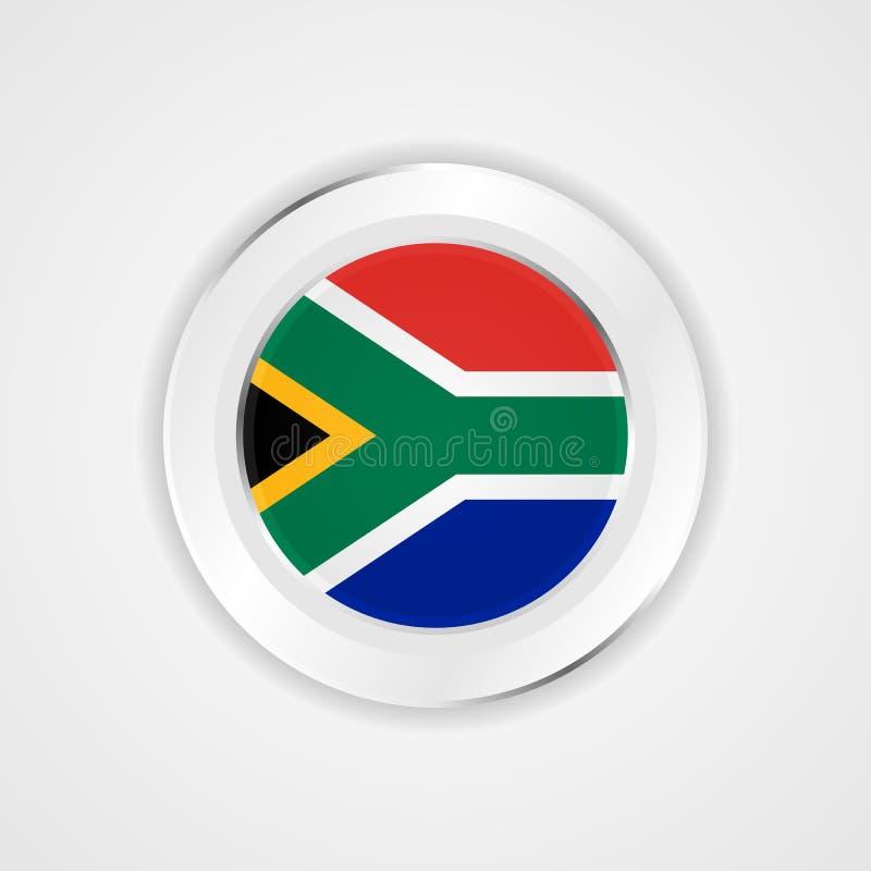 Sydafrika flagga i glansig symbol stock illustrationer