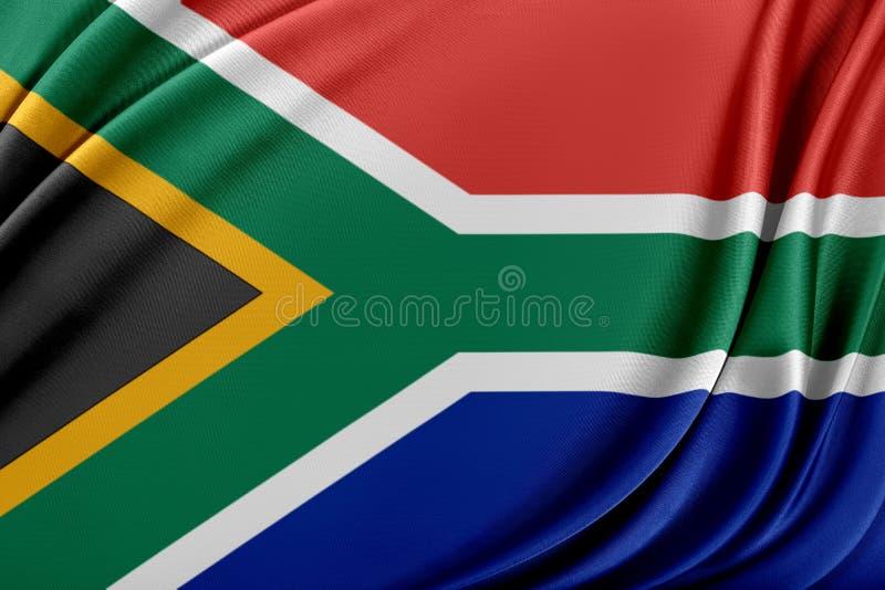 Sydafrika flagga med en glansig siden- textur royaltyfri illustrationer