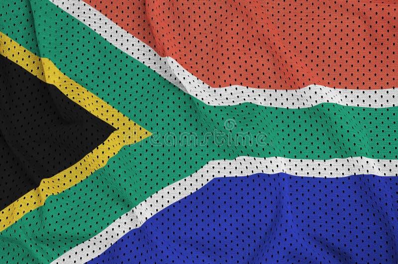 Sydafrika flagga som skrivs ut på ett ingrepp f för polyesternylonsportswear royaltyfria foton
