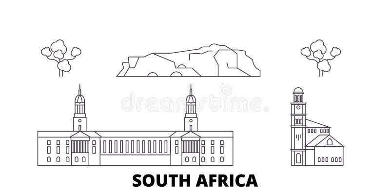 Sydafrika linje lopphorisontuppsättning Illustration för vektor för Sydafrika översiktsstad, symbol, loppsikt, gränsmärken royaltyfri illustrationer