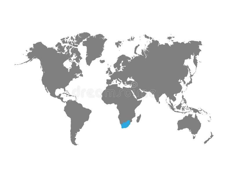 Sydafrika markeras på världskartan royaltyfri illustrationer