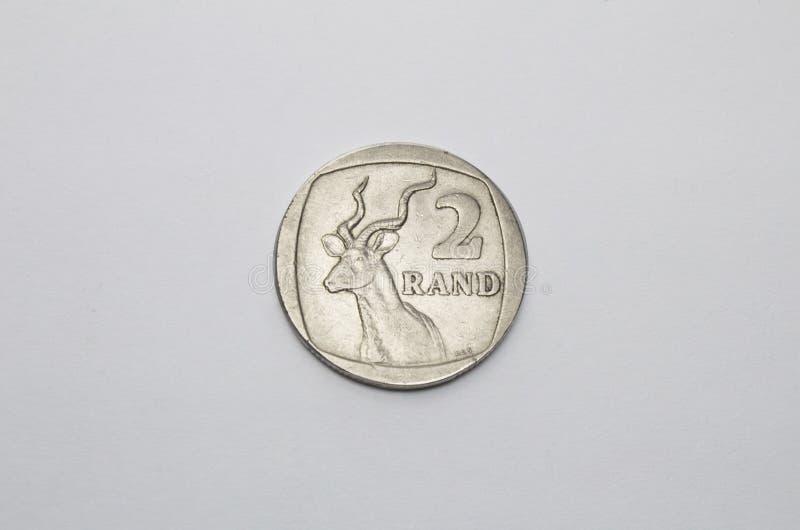Sydafrika mynt i vit royaltyfria foton