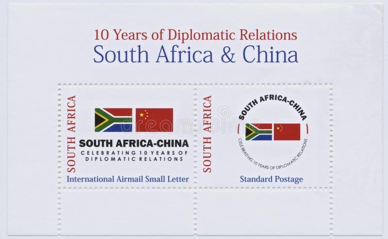 Sydafrika och Kina stämplar, diplomatisk förbindelse royaltyfri fotografi
