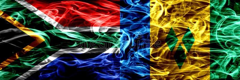 Sydafrika vs Saint Vincent och Grenadinerna rökflaggor förlade sidan - vid - sidan Begrepps- och idéflaggor blandar royaltyfri illustrationer