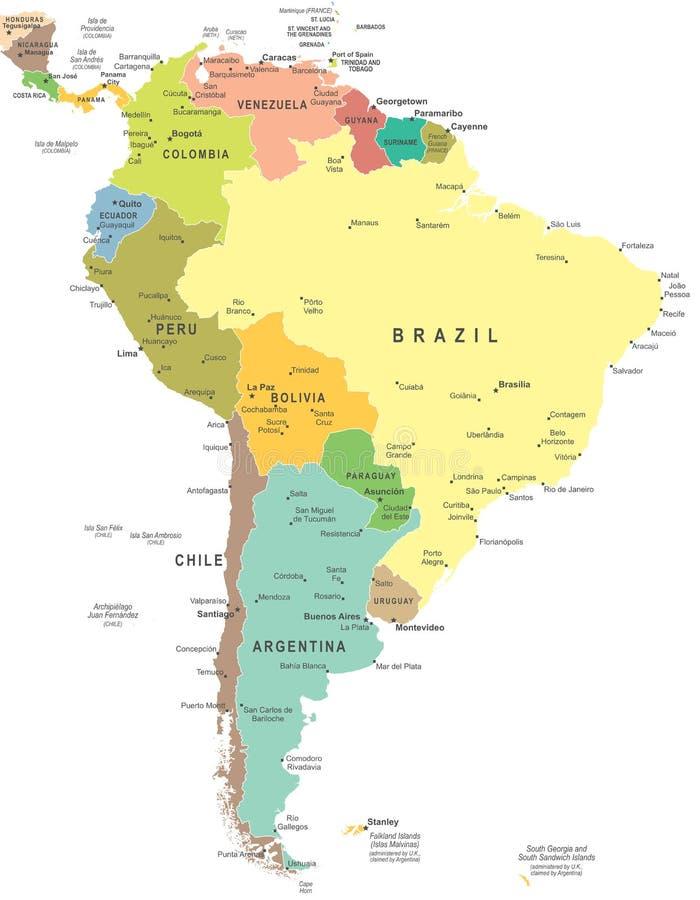 Sydamerika - översikt - illustration royaltyfri illustrationer