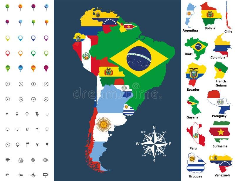Sydamerika översikt som är blandad med landsflaggan också vektor för coreldrawillustration vektor illustrationer