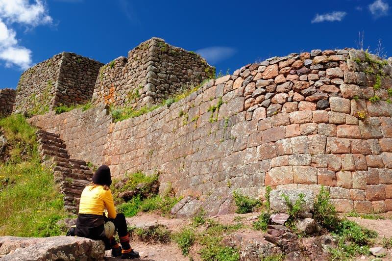 Sydamerika den Pisaq incaen fördärvar, Peru, den sakrala dalen, royaltyfri bild