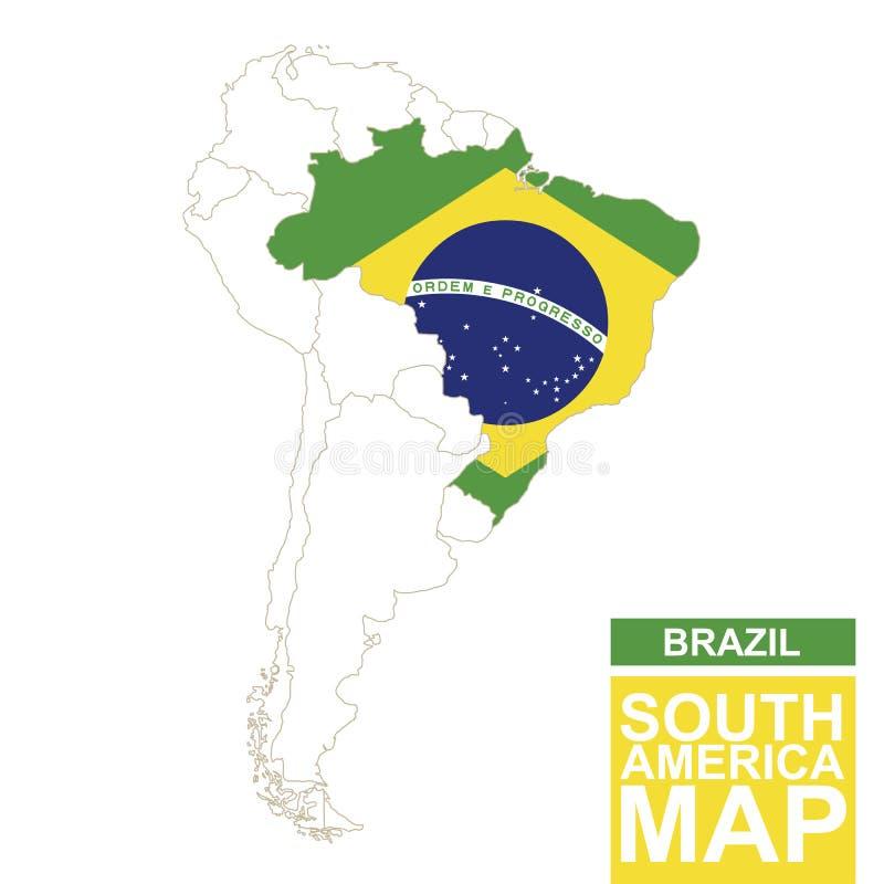 Sydamerika drog upp konturerna av översikten med markerade Brasilien vektor illustrationer