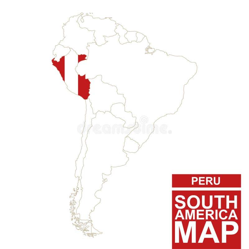 Sydamerika drog upp konturerna av översikten med markerade Peru royaltyfri illustrationer