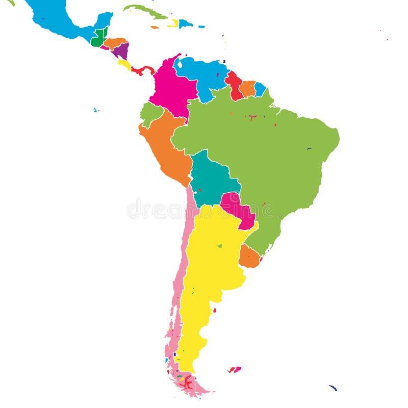 Sydamerika färgrik vektoröversikt royaltyfri illustrationer