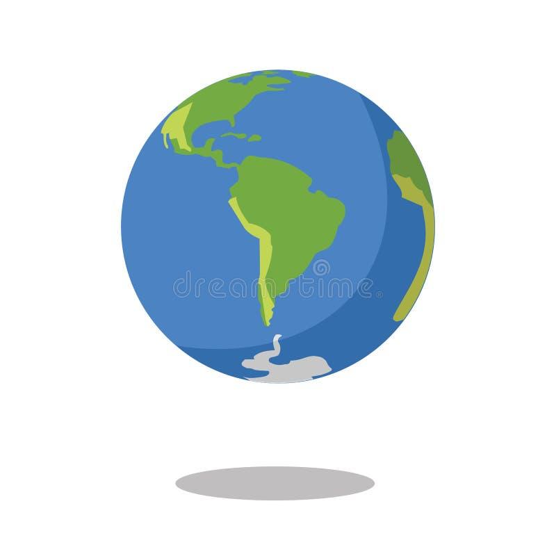 Sydamerika isolerade på för planetjord för vit bakgrund plan illustration för vektor för symbol stock illustrationer