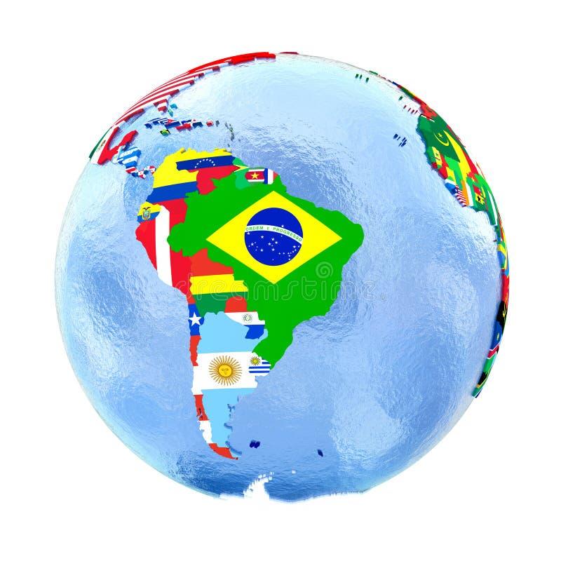 Sydamerika på det politiska jordklotet med flaggor som isoleras på vit stock illustrationer