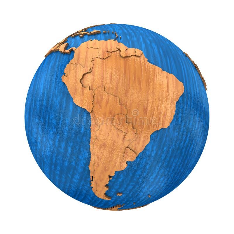 Sydamerika på träjord royaltyfri illustrationer