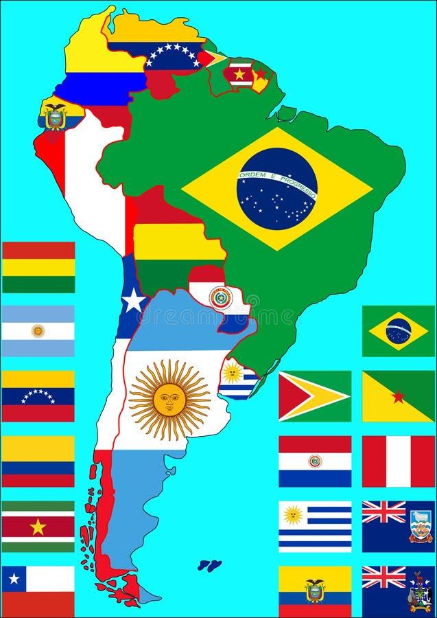 Sydamerika politisk översikt, vektor vektor illustrationer