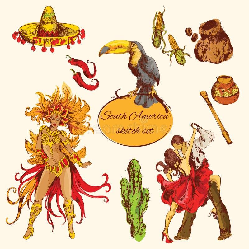 Sydamerika skissar uppsättningen royaltyfri illustrationer