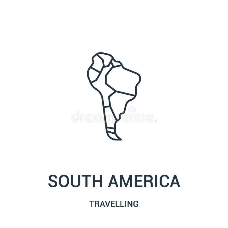 Sydamerika symbolsvektor från att resa samlingen Tunn linje illustration för vektor för Sydamerika översiktssymbol Linj?rt symbol stock illustrationer