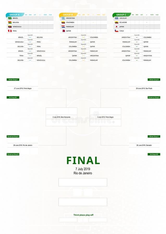 Sydamerika 2019, vertikalt fotbollturneringschema vektor illustrationer