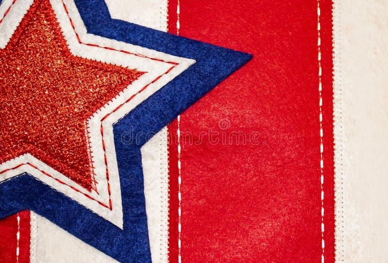 Sydd tygbakgrund av stjärnan på band - röd vit och blått - patriotisk feriebakgrund eller beståndsdel royaltyfria bilder