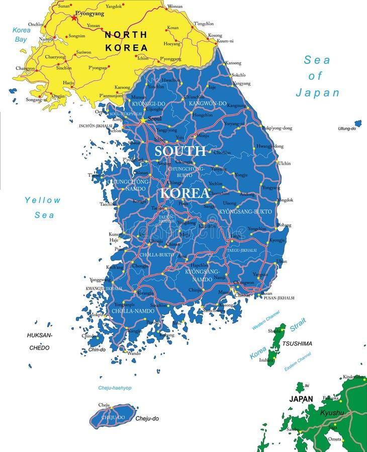 Sydkorea översikt stock illustrationer