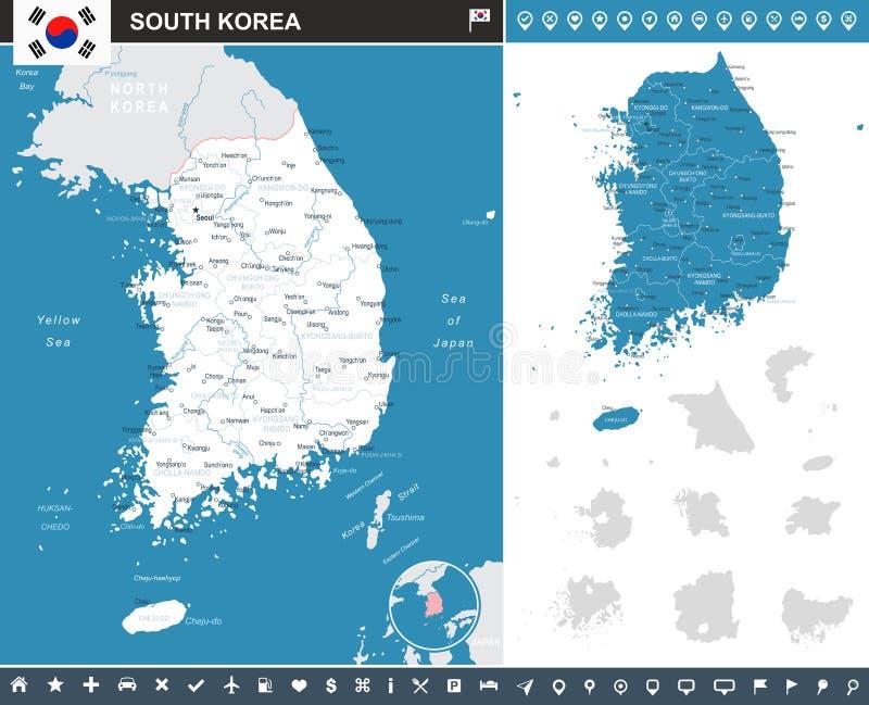 Sydkorea - översikt och flagga - illustration vektor illustrationer