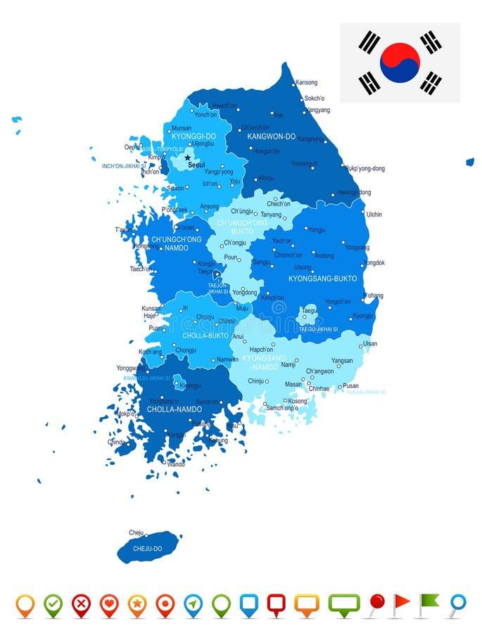 Sydkorea - översikt och flagga - illustration royaltyfri illustrationer