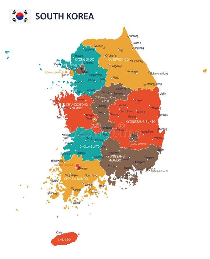 Sydkorea - översikt och flagga - infographic illustration vektor illustrationer
